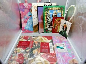 1994 - 1997 Lot of 7 Holiday Barbie Gift Bags and Tissue Paper, 3 lg 2 med. 2 sm