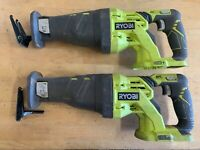 FOR PARTS - (2) RYOBI P516 18V Cordless One+ Variable Speed Reciprocating Saw
