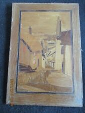 """ART DECO MARQUETRY PICTURE 'Gold Hill,Shaftesbury,Dorset'  12"""" x 8.5"""" c.1930's"""