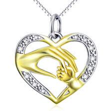 Hand Mutter u Kind vergoldet im Herz Kristalle weiß Kette Anhänger 925 Silber