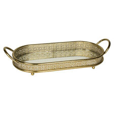 Ornate Gold Mirrored Metal Serving Display Kitchen Dining Tableware Platter Tray