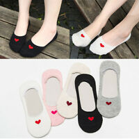 3/5 Pairs Women Invisible Low Cut Socks No Show Nonslip Heart Boat Socks Casual