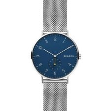 Brand New Skagen Aaren 40mm Blue Dial Steel Mesh Unisex Watch SKW6468 Boxed