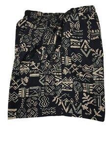 Swim Trunks Men's XL Lined R&Y Sport  Polynesian Print 36x7 Black Tan Green