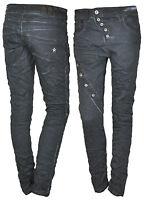 Damen Hose Jeans Boyfriend Chino Baggy Knopfleiste Blau Grau M L XL