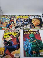 Lot of 5 Wizard Magazines Spiderman Dark Book 98 Superman Buffy