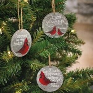 Cardinal Aways With You Ornaments Set of 3 Metal NWT Angel Near Forever in Heart