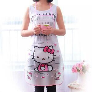 Cute Hello Kitty Apron PVC Waterproof Cooking Painting Anti Oil Kitchen Tool
