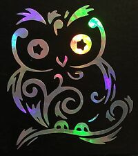 Fancy Swirl Owl Cute Rainbow Holographic Vinyl Car Decal Laptop Sticker 11-15