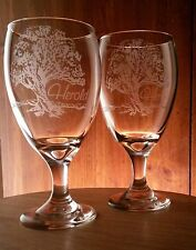 4 Personalized Oak Tree Water Tea Goblets Tableware Gift Parents Grandparents