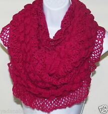 Fall Winter Bubble Ruffle Infinity eternity scarf with Lace trim  Fuchsia