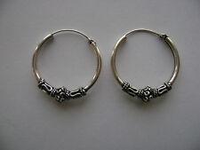 Sterling Silver 24mm Thick Bali Hoop Earrings New