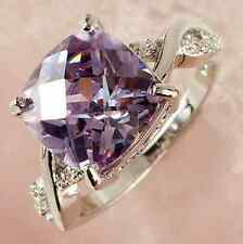 Women Elegant Blue Sapphire White Gold Filled Ring Size6 7 8 9 Rings Jewelry CHI