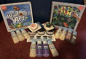 Gallery Glass Paint Lot of 11 New Sealed 2 oz Bottles 1996 & Bonus Craft Items