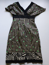 Phoebe Couture Womens 2/4 Green & Black Polka Dot Silk Dress Great Condition