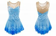 Girl Women latin Rumba Ice Skating Dress Competition customize blue flower dying