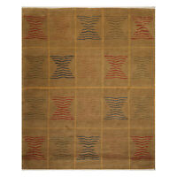 "7'11"" x 9'10"" Hand Knotted Wool Geometric Tibetan Oriental Area Rug Brown Modern"