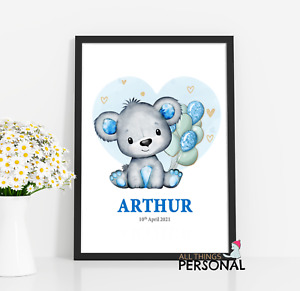 Personalised Nursery Print Teddy Bear Baby Kids Room Wall Art Poster Boys Gift
