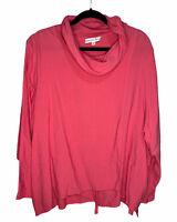 Christopher Calvin Cowl Neck Linen Blouse Layered Shirt Top Women's Plus Size 2X