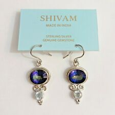 NWT SHIVAM 925 Sterling Silver Peacock Myistic Quartz Blue Topaz Stone Earrings