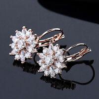 Women Fashion Jewelry Elegant Crystal Flower Rhinestone Ear Stud Earrings 1Pair