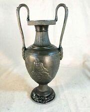 Antique Roman Greek French Spelter Bronze Urn Vase Marble Base Neoclassical