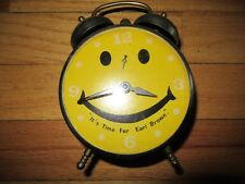 9E/VINTAGE ROBT SHAW LUX HAPPY DAY/SMILEY/HAPPY FACE TWIN BELL CLOCK/EARL BROWN!