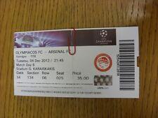 04/12/2012 billet: OLYMPIACOS V Arsenal [Ligue des Champions] (plié). merci pour