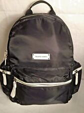 Franco Sarto Women's Lisa Nylon Black Backpack Accented With White Zippers New