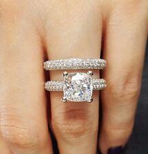 4.51 Ct Cushion Cut Diamond Engagement Ring Set Micro Pave G,Vs2 Gia Platinum