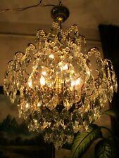 Antique Vnt.French HUGE SPIDER Style Crystal Chandelier Lamp Light 1940's