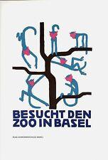Original vintage poster print VISIT BASEL ZOO MONKEYS 1929