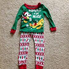 Disney Store Boys Green Red Mickey Mouse Pluto Christmas Naughty Nice Pajamas 3