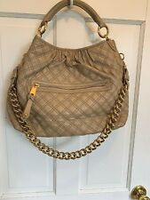 Marc Jacobs Stam TAUPE TAN BEIGE BLUSH Quilted Leather Shoulder Bag gold chain