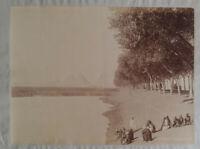 Albumen Photo Egypt by Lékégian Pyramids Giza Nile Sepia 1880s -1890s