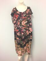Capture black pink floral extended sleeves shift dress size 18 womens