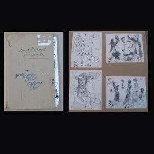Alexander Putov (Russian,1940) 4 rare ink drawings + artist folder. Sign/ Dated