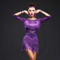 Womens Shiny Tassel Ballroom Latin Dance Dresses Cha-cha Costume Skirt Jitterbug