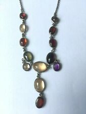 Vintage 925 Silver Rainbow Moonstone Necklace 50cm Length