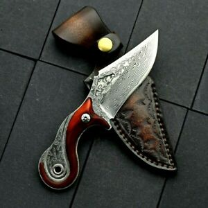 Drop Point Knife Fixed Blade Hunting Combat Tactical Damascus Steel Wood Handle