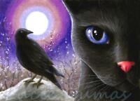 ACEO art print black Cat 570 bird crow raven from original painting by L.Dumas
