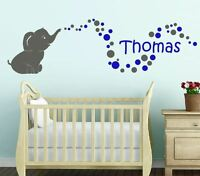LARGE Cute Baby Elephant + Custom Name Bubbles Bedroom Wall Sticker Personalised