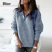 Women Winter Knitwear Knitted Tops Sweater Lapel Pullover Sweatshirt Size S-2XL