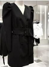 Zara Dress Blazer With Belt Puff Sleeves Double Breasted Black 7832/504 Xs 4 6