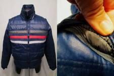 Vtg ALPINE SKI Puffer Jacket Coat Navy Red Gray Stripe ZIP OFF Sleeves Vest S M