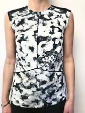 SABA grey black white print silk tunic top sleeveless sz 4