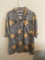 Tommy Bahama Men's Hawaiian Shirt Size L All Over Print Short Sleeve Camp