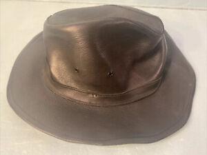 MINNETONKA Black Genuine Deerskin Leather Western Cowboy Outback HAT L Large