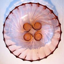 """Grande coupe ART DECO ou saladier verre """"vieux rose"""", côtes torses, sur 4 pieds"""