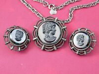 Vintage Judy Lee Signed Cameo Necklace Pendant Brooch Earrings Black Glass